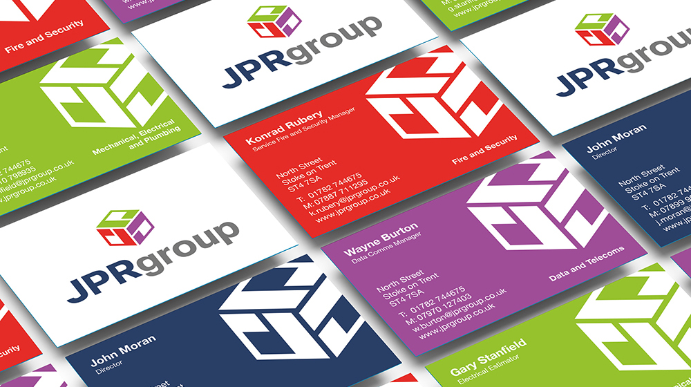 JPR Group rebrand - business cards