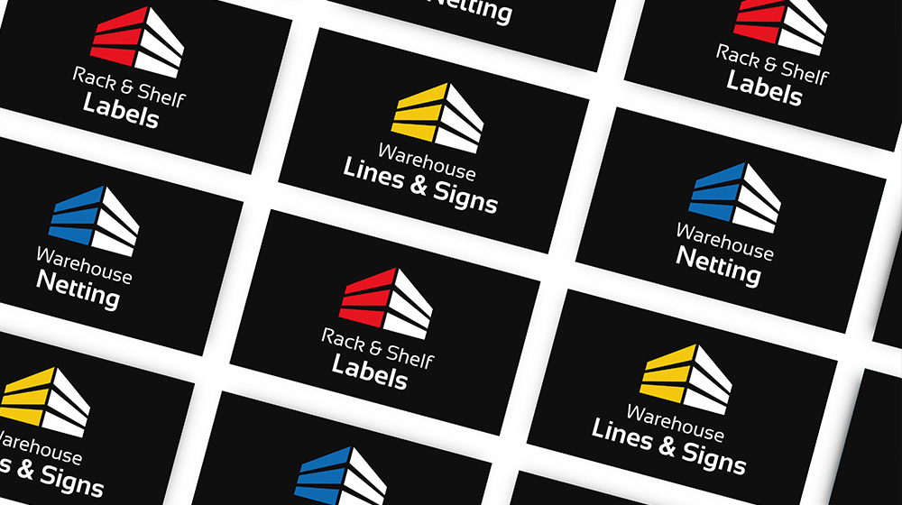 Logo designs for Rack and Shelf Labels, Warehouse Netting, Warehouse Lines and Signs